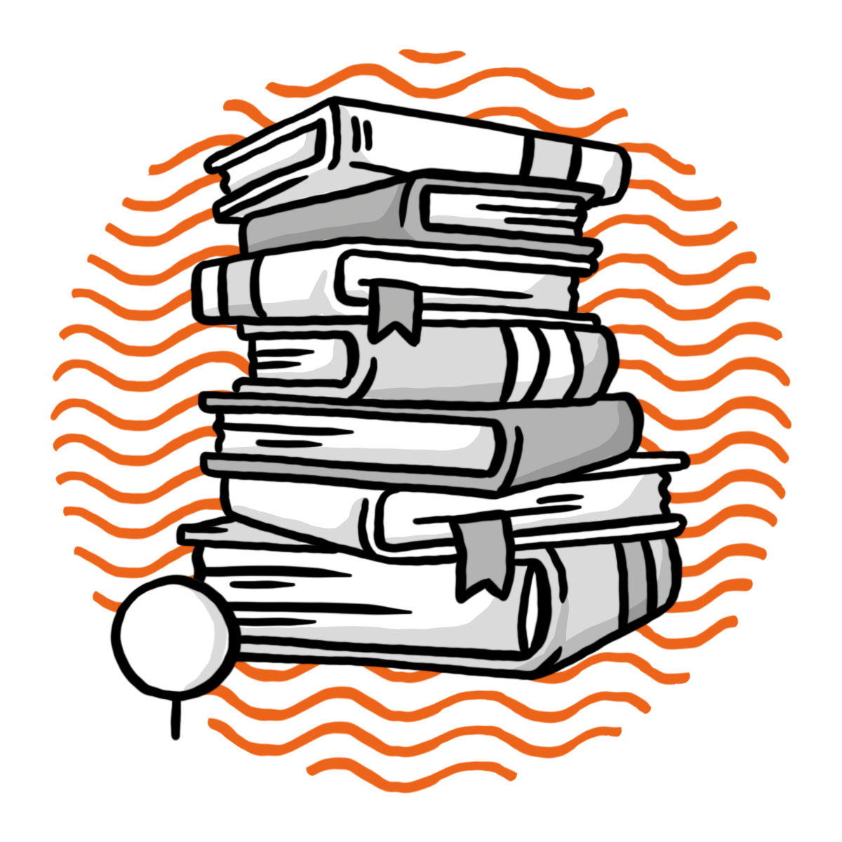 Bücherstapel mit Ganztagesklasse-Bäumchen (Symbol für Ganztagesklasse)