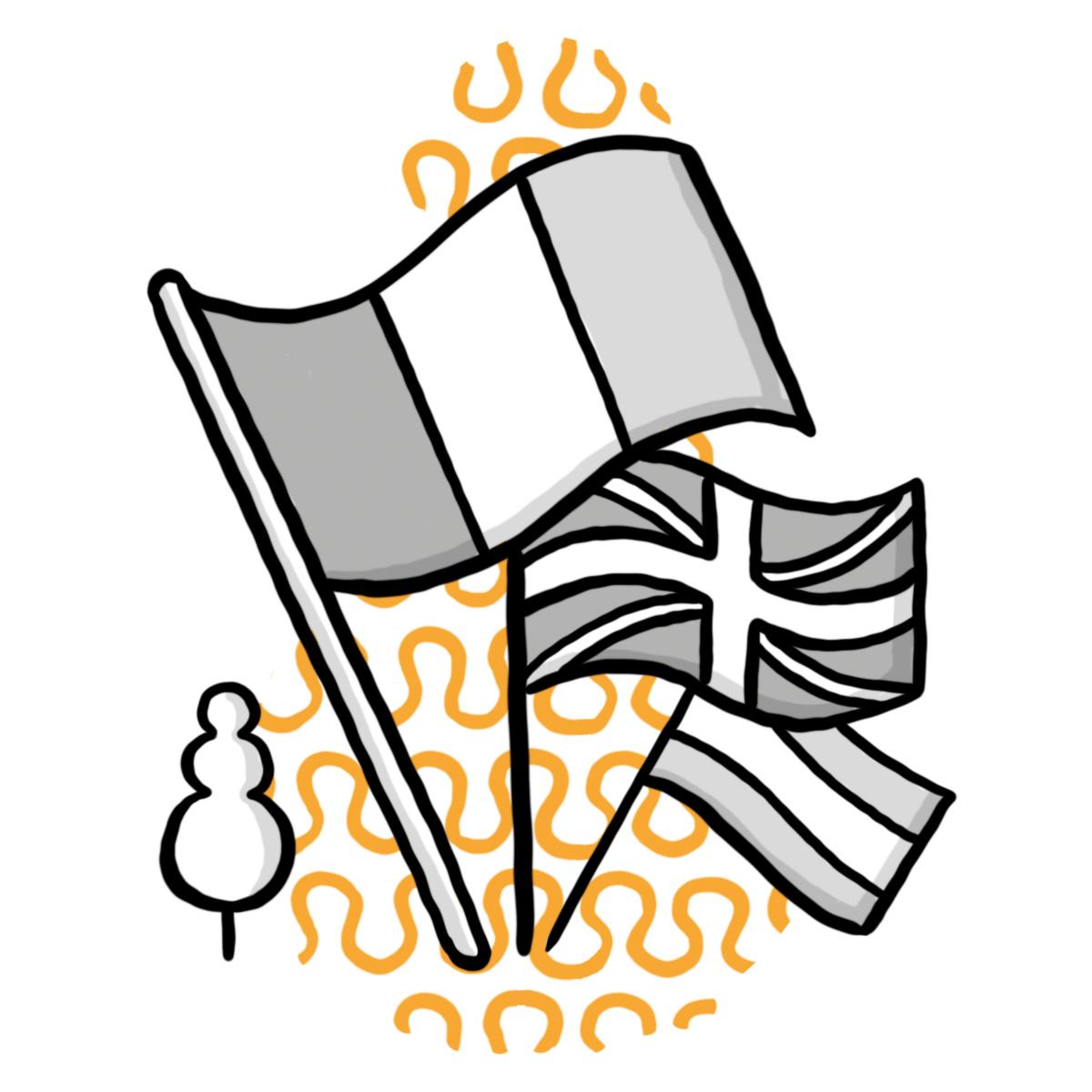 Länderfahnen Illustration mit KomMed-Bäumchen (Symbol für Schulzweig Komminikation und Medien Gymnasium)