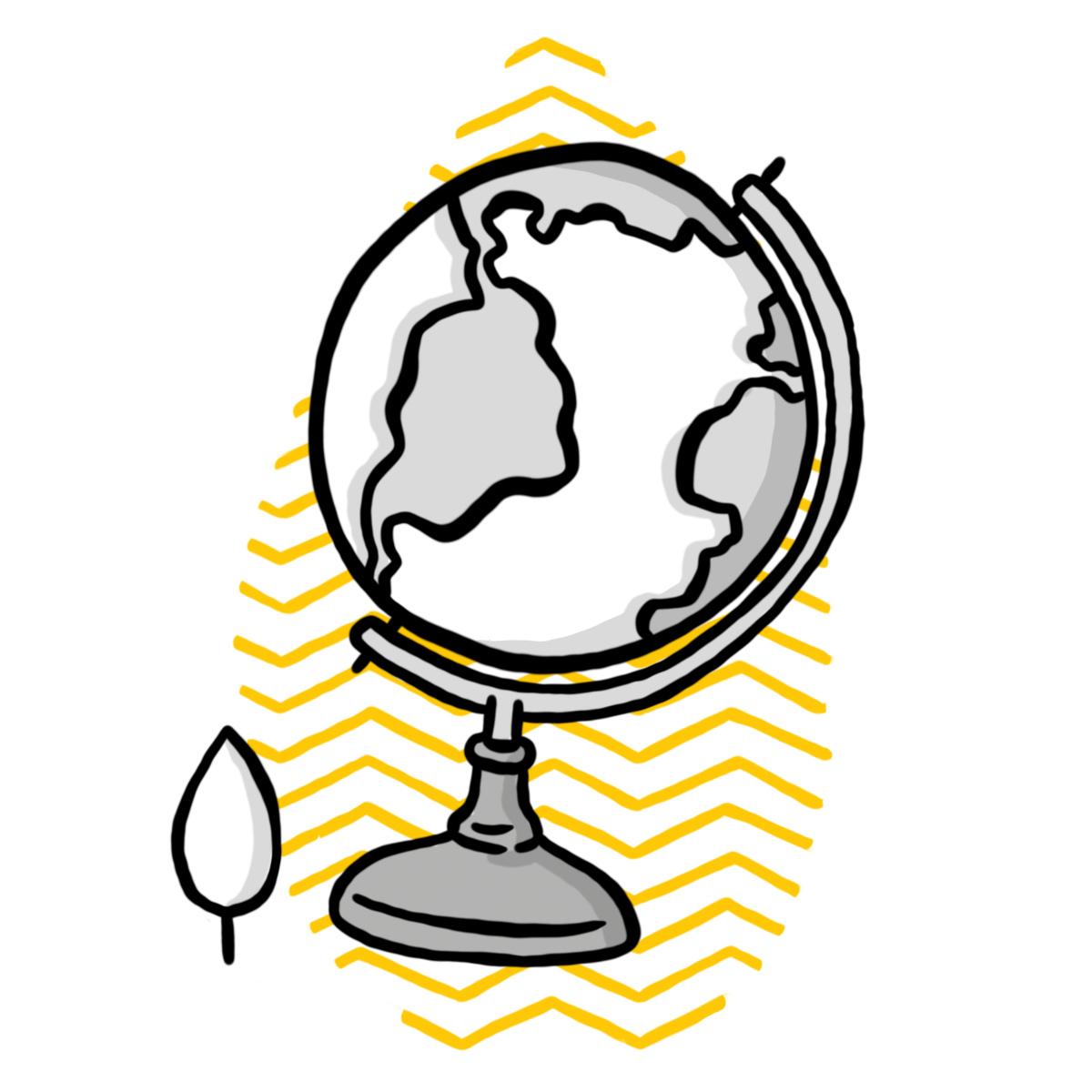 Globus Illustration mit Science School-Bäumchen (Symbol für Science School RG Langform)
