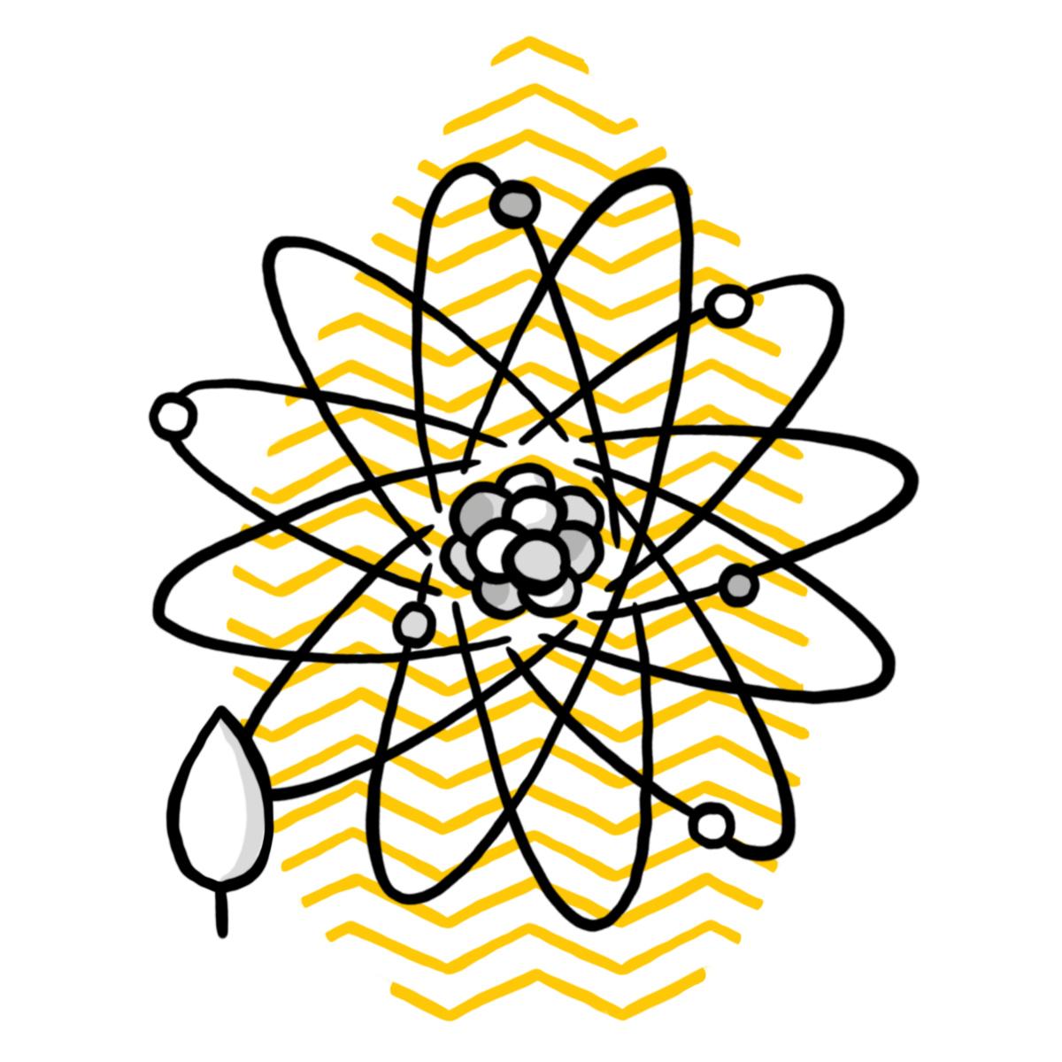 Darstellung eines Atommodells mit Science School-Bäumchen (Symbol für Schulzweig Science School)