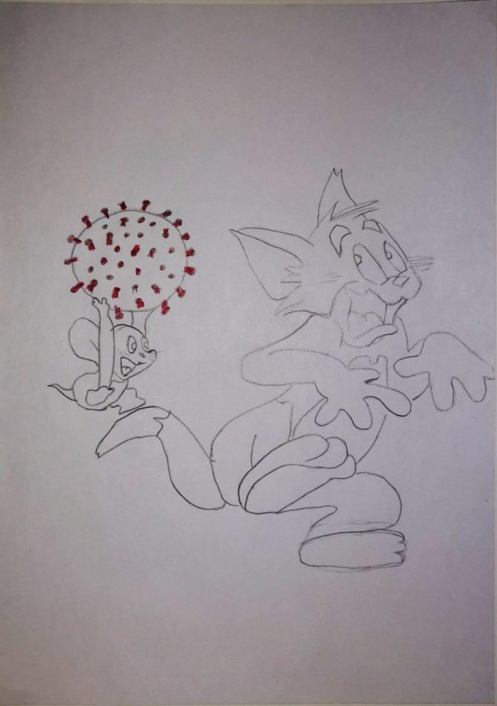 Zeichnung von Zeichentrick-Katze Tom