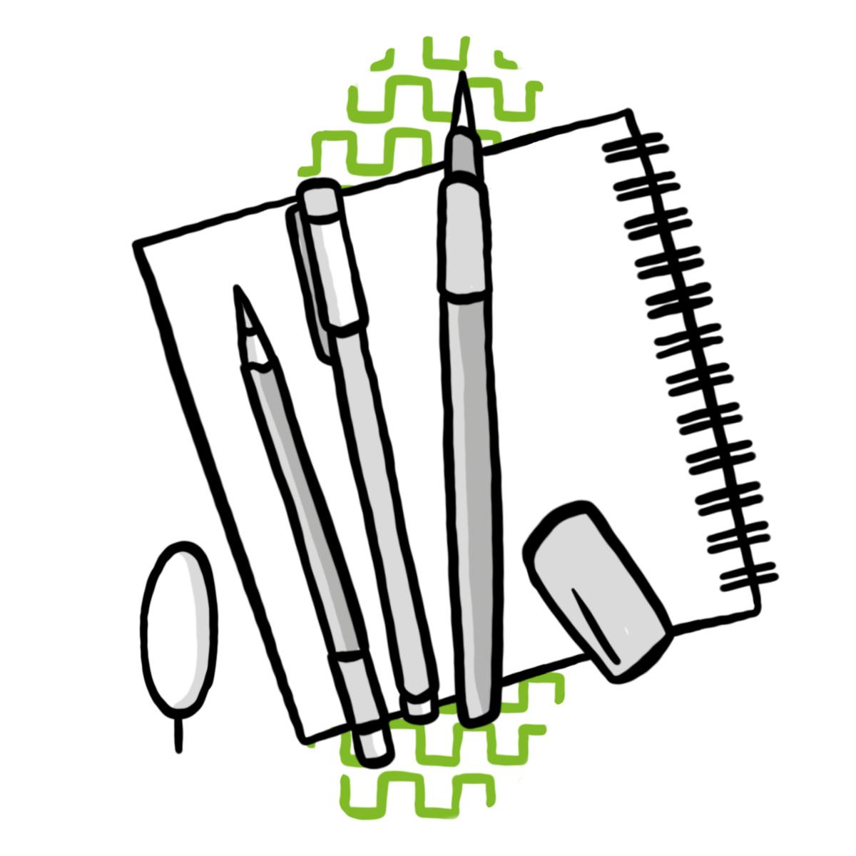 Papier-Block mit Stiften und Radiergummi mit Kunst und Design-Bäumchen (Symbol für Schulzweig Kunst und Design ORG)