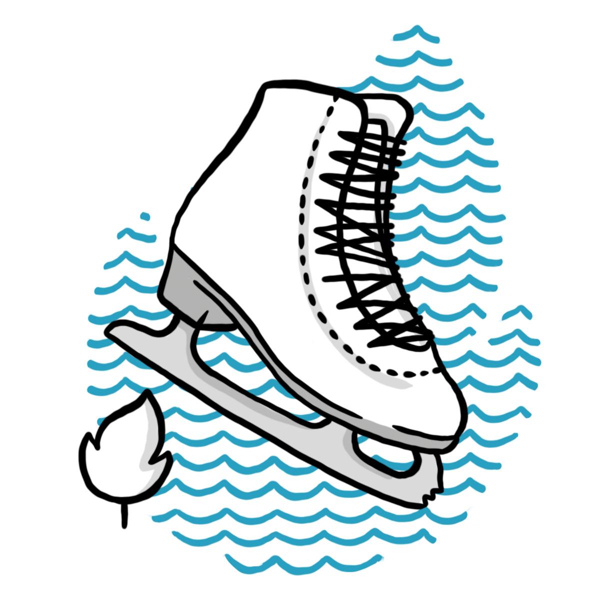 Eislaufschuh mit Leistungssport-Bäumchen (Symbol für Schulzweig Leistungssport)