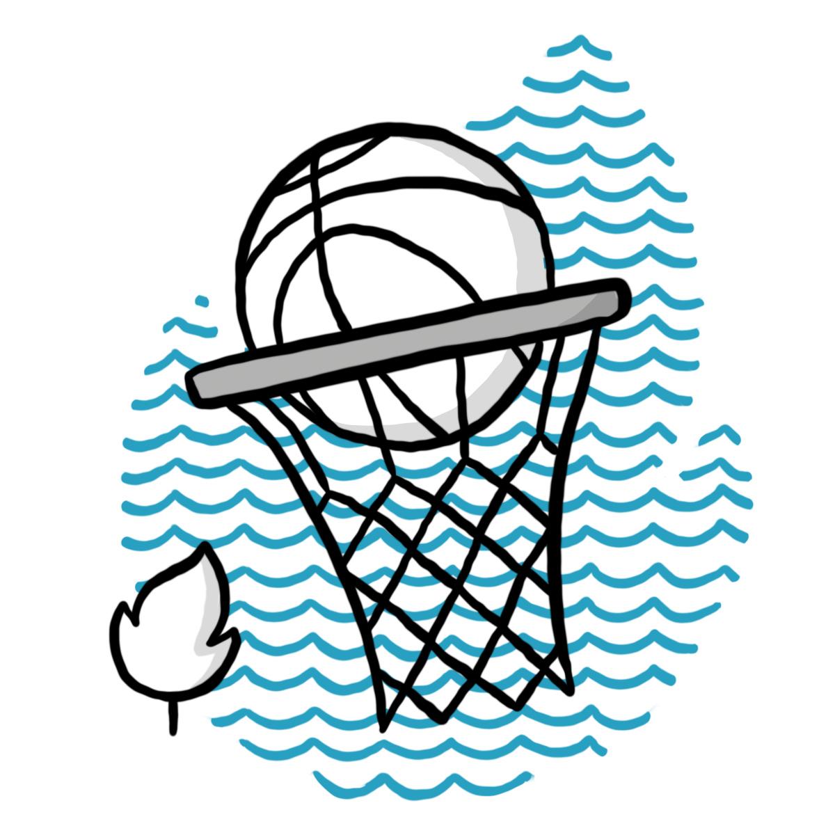 Baskelball im Netz mit Leistungssport-Bäumchen (Symbol für Schulzweig Leistunssport)