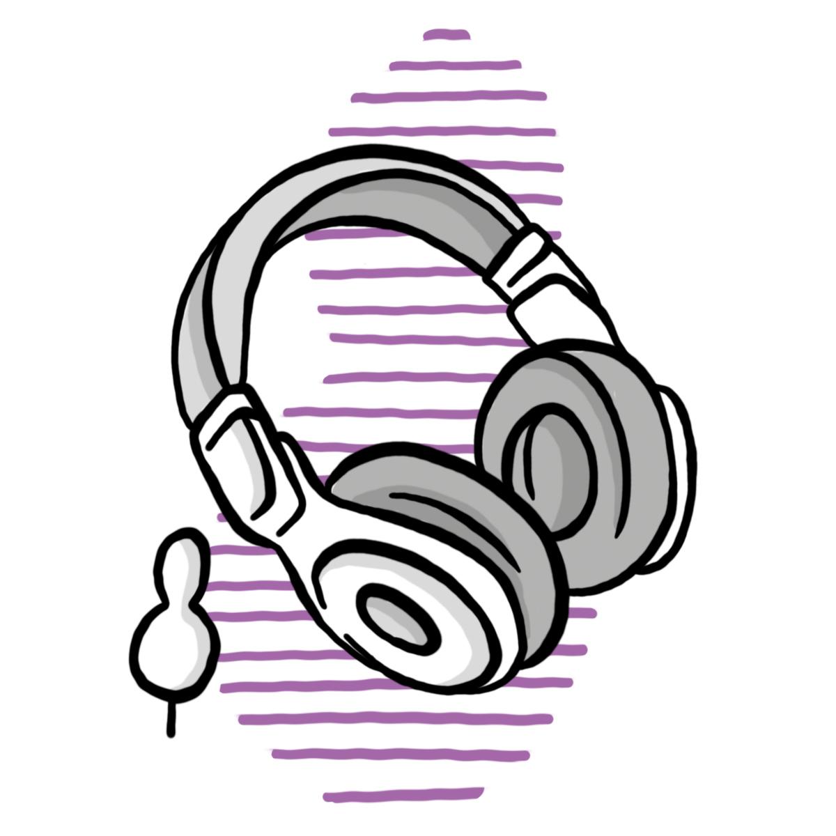 Kopfhörer mit Audio-Bäumchen (Symbol für Schulzweig Audio ORG)